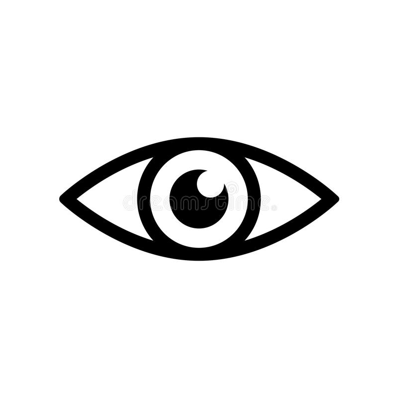 Eye icon - vector. Eye icon. Simple black eye sign in flat style isolated on wihte background. Simple vector symbol for web site design or button to mobile app stock illustration
