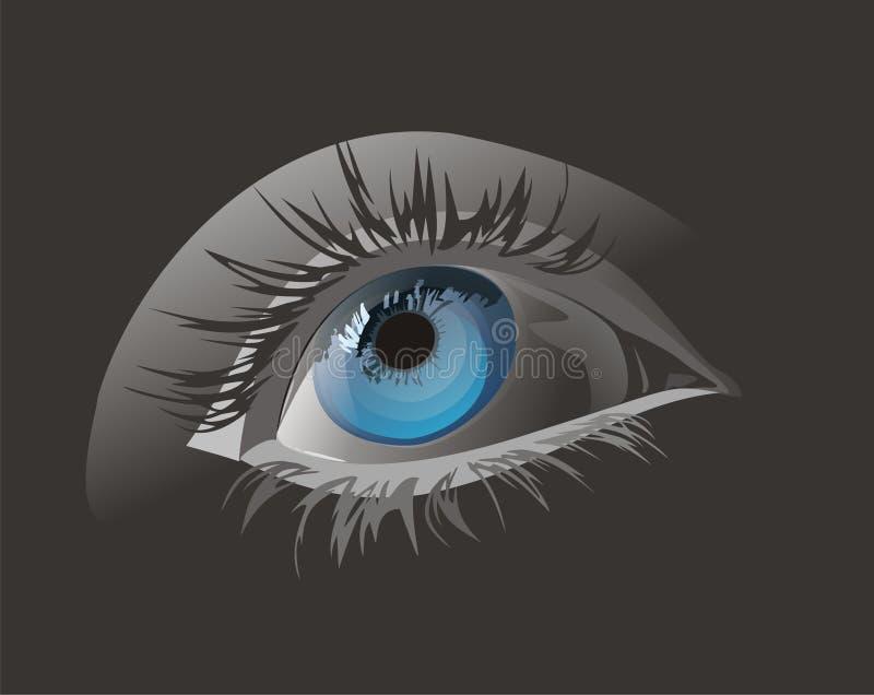 Eye( illustration). Close up illustration of a blue eye stock illustration