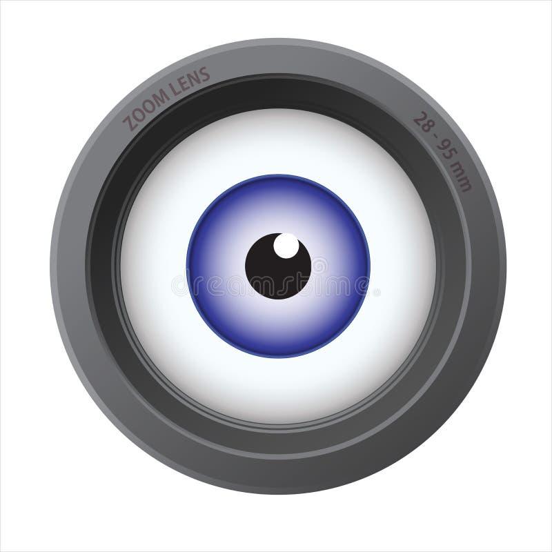 An eye inside of camera lens stock illustration