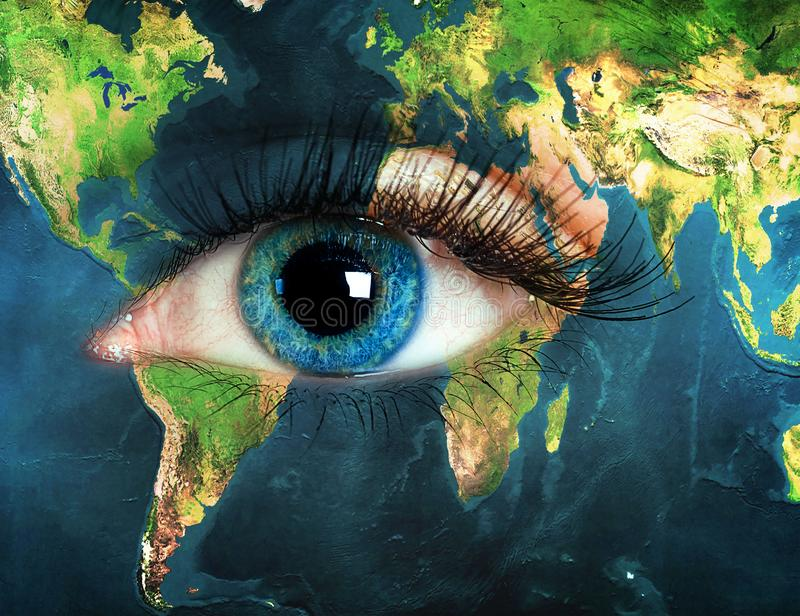 Eye integrated with the world map. stock photo