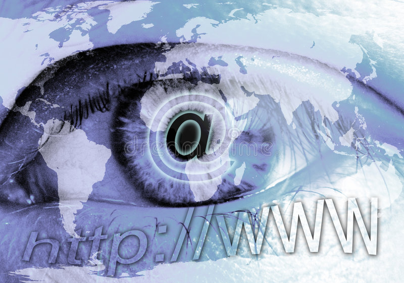 Eye and Internet. The globalization of the Internet and communications royalty free illustration