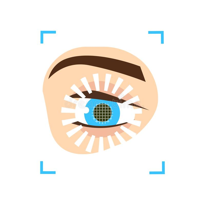 Eye iris scan security system of modern new devices. Like smartphone or tablet. Flat style. Vector illustration on white background stock illustration