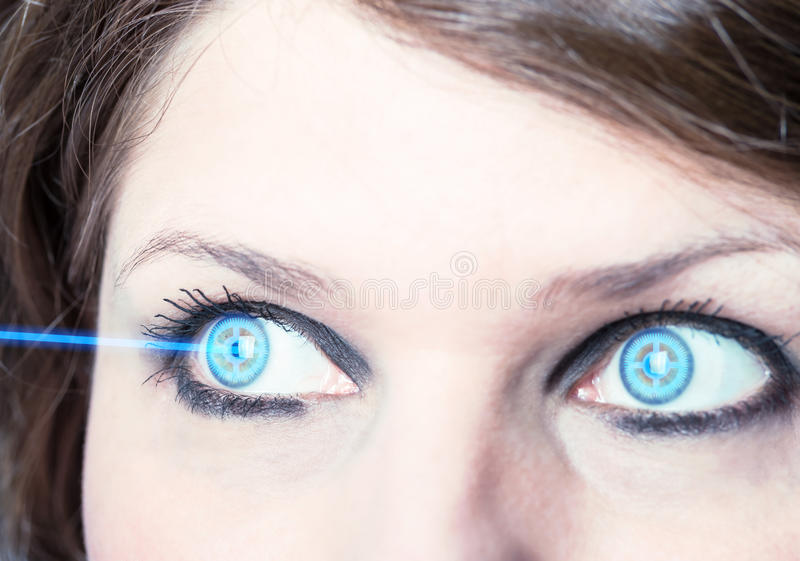 Eye with laser beam. Eye surgery royalty free stock images