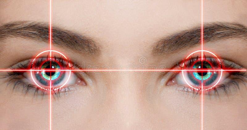 Eye laser. Konzept photo of eyes with red laser beam royalty free stock images