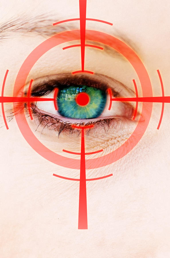 Eye laser. Konzept photo of a eye with a red abstract laser royalty free stock images