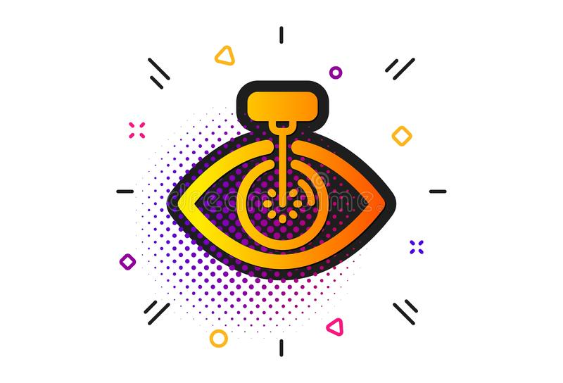 Eye laser surgery icon. Oculist clinic sign. Optometry vision. Vector. Oculist clinic sign. Halftone circles pattern. Eye laser surgery icon. Optometry vision stock illustration