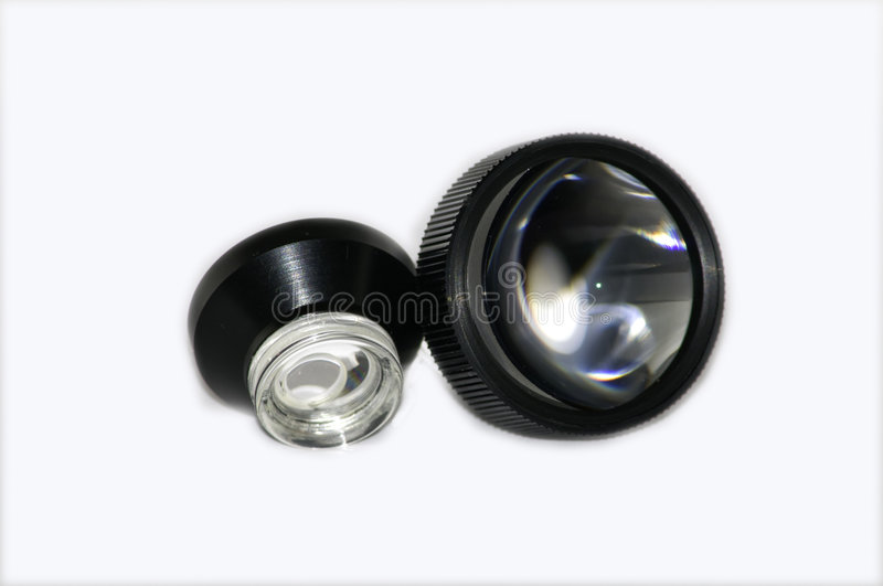 Eye Laser Surgery Lenses. Ophthalmic lenses used for eye laser surgery royalty free stock images