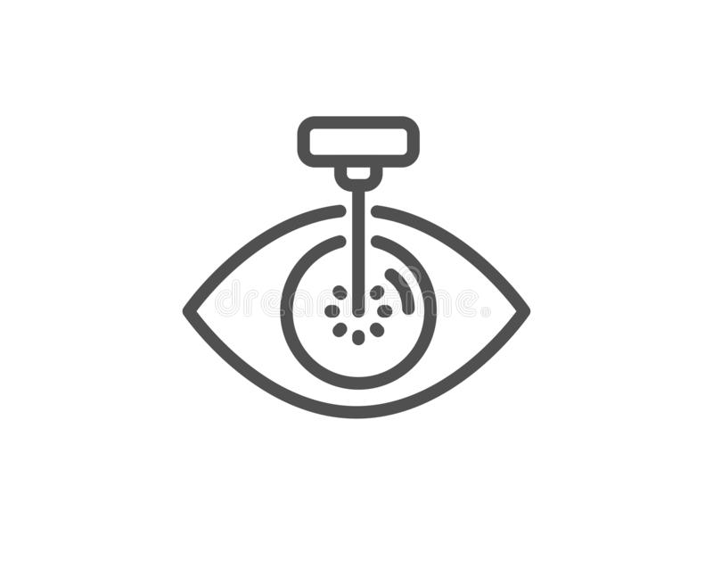 Eye laser surgery line icon. Oculist clinic sign. Optometry vision. Vector. Eye laser surgery line icon. Oculist clinic sign. Optometry vision symbol. Quality stock illustration