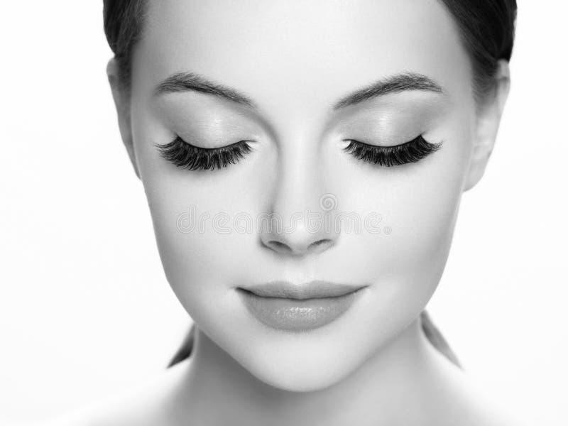 Eye lashes, lash extension woman lashes close up macro monochrome. Studio shot royalty free stock photo