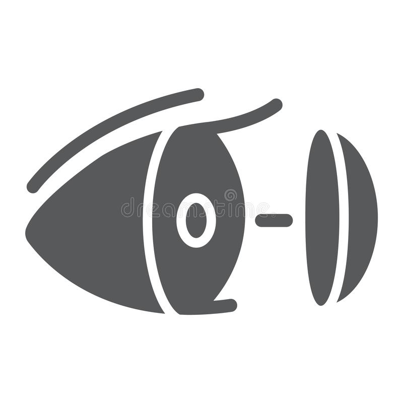 Eye lens glyph icon, vision and care, contact lens sign, vector graphics, a solid pattern on a white background. Eye lens glyph icon, vision and care, contact vector illustration