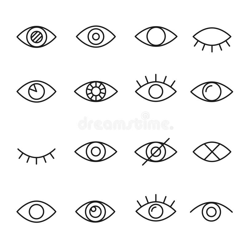 Eye line icon. Human organ of sight in different positions, visual system in graphic design. Vector line art illustration isolated on white background vector illustration