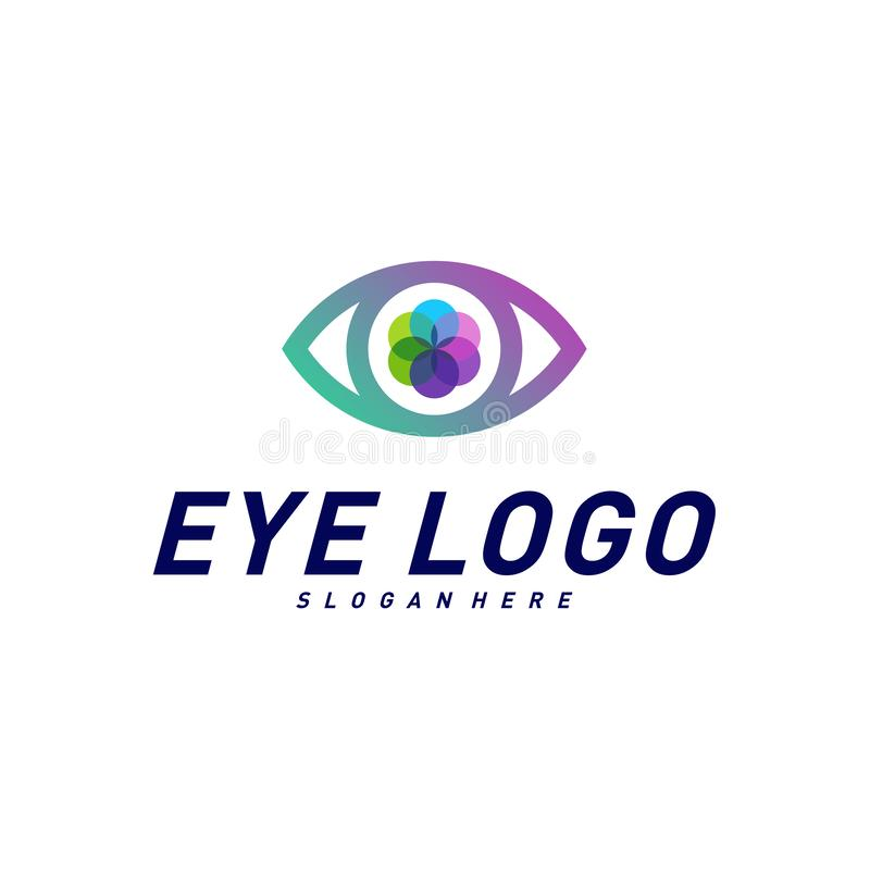 Eye Logo design concept vector template. Colorful media icon. Vision Logotype concept idea.  royalty free illustration
