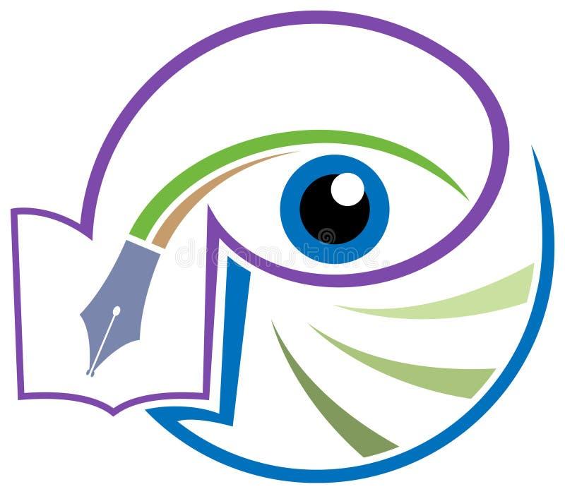 Eye logo design. Line art eye logo design with isolated white background vector illustration