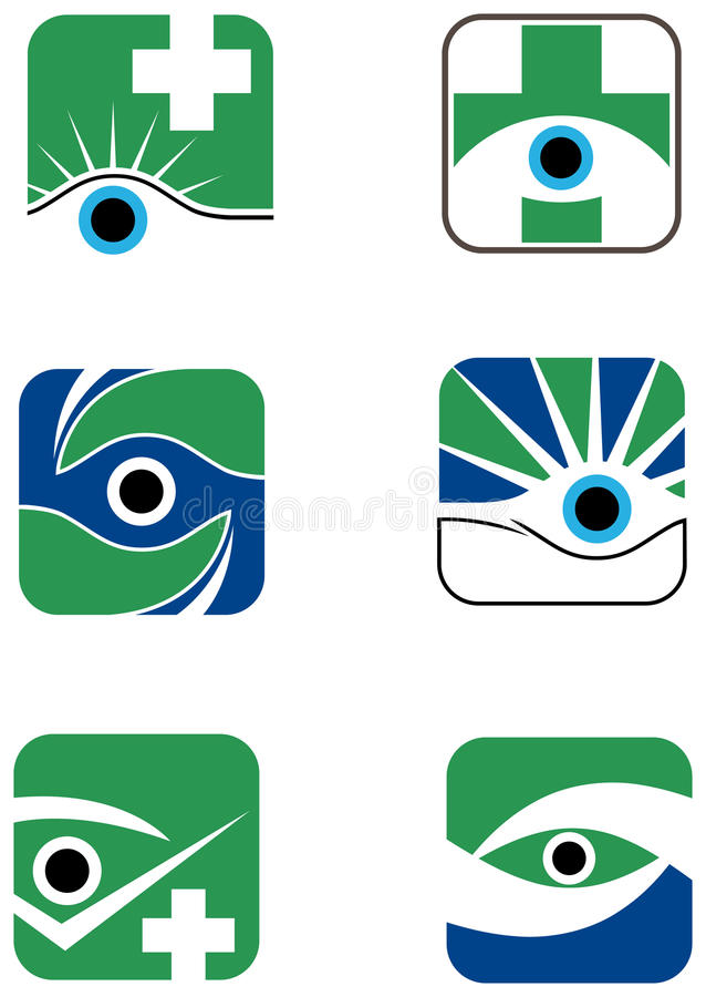 Eye logo design set. Abstract line art eye logo design set royalty free illustration