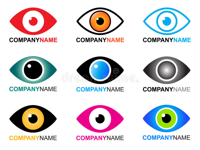 Eye logo and icons. Collection of vector 9 isolated colorful company logos and icons of eye element with editable text for name of your company