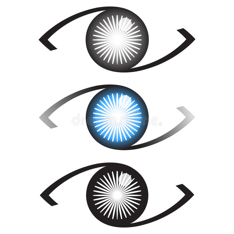 Eye logo. Three eyes with different color iris logo or icon set vector illustration