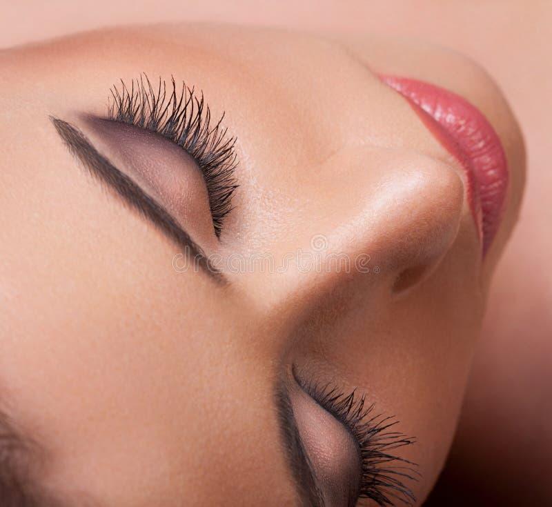 Eye with long eyelashes. High quality image. Woman eye with beautiful makeup and long eyelashes. High quality image stock photography