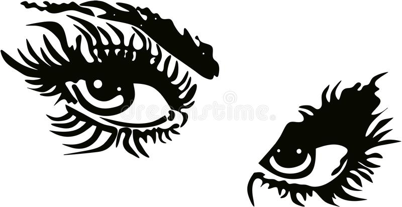 Eye with Long Lashes. In decorative Frame Brows Logo vector illustration
