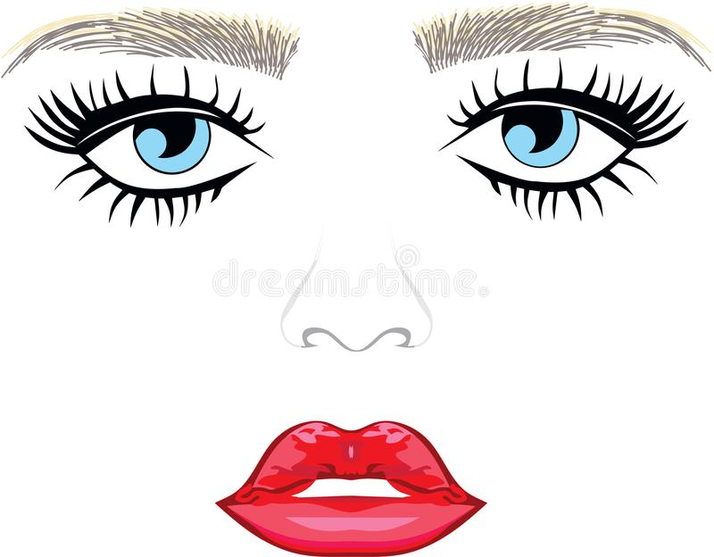 Eye with Long Lashes lips. Girly face blue eyes nose vector illustration
