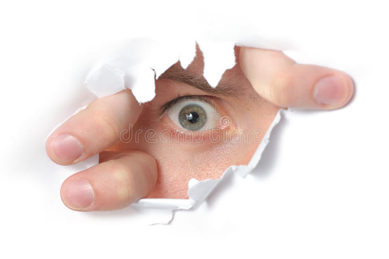 Download Eye Looking Through A Hole In Paper Stock Photo - Image of male, eyesight: 15497502