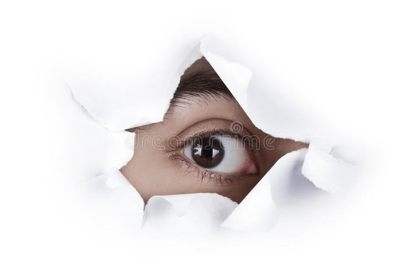Download Eye Looking Through A Paper Hole Royalty Free Stock Photography - Image: 18842737