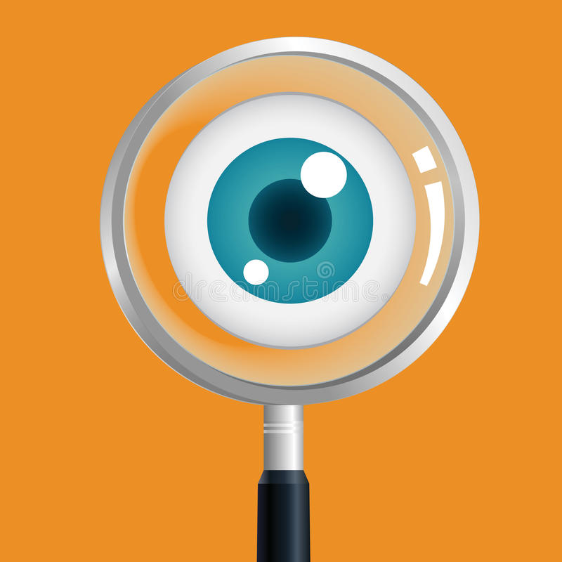 Eye magnify. Search the eye,the eye magnifier vector illustration