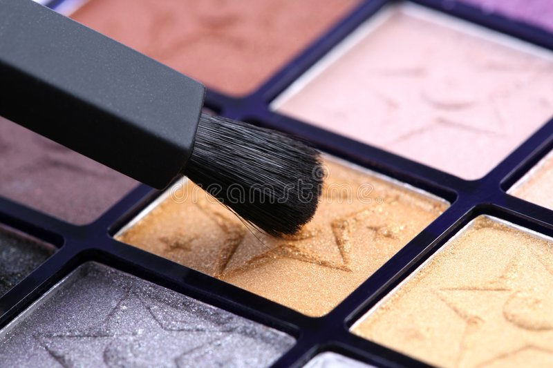 Eye makeup with brush stock photo