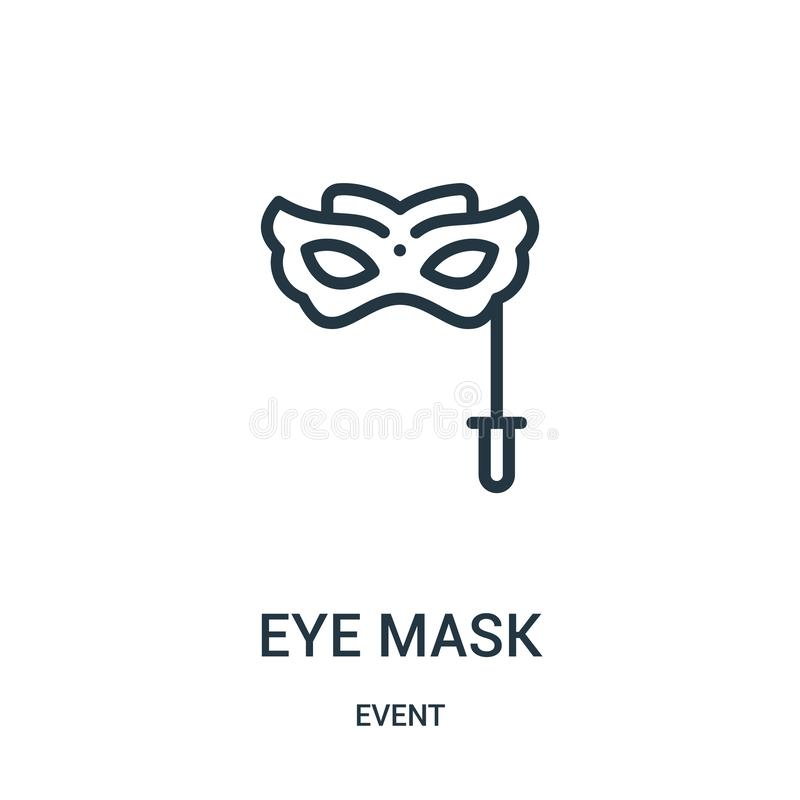 eye mask icon vector from event collection. Thin line eye mask outline icon vector illustration royalty free illustration