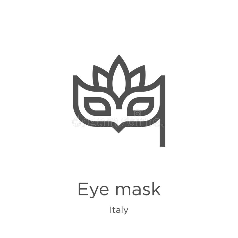 eye mask icon vector from italy collection. Thin line eye mask outline icon vector illustration. Outline, thin line eye mask icon royalty free illustration