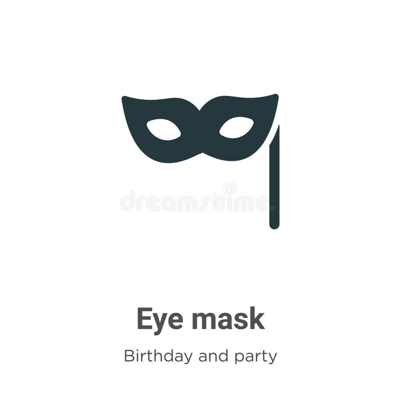 Eye mask vector icon on white background. Flat vector eye mask icon symbol sign from modern birthday and party collection for. Mobile concept and web apps royalty free illustration