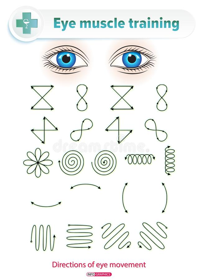 Eye Muscle Training. Ophthalmological manual. Medical visual set of exercises to improve visual acuity by means of training eye muscles royalty free illustration