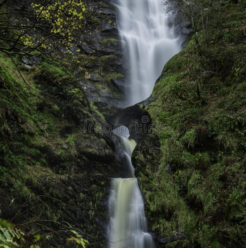 Taf Fechan River. The Eye Of Nature, Long Exposure of the seventh highest waterfall in the United Kingdom. A close up of Pistyll Rhaeadr Waterfall a true royalty free stock image