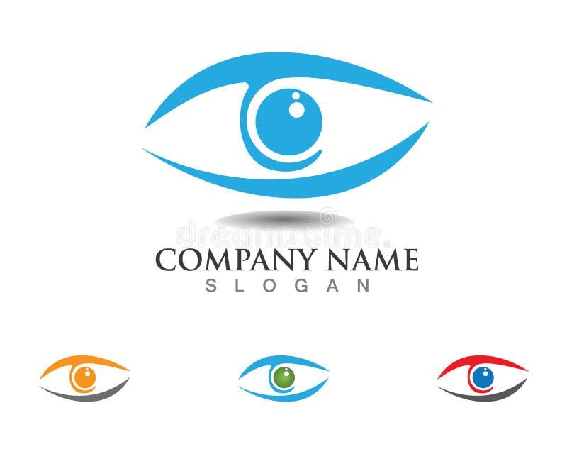 Eye o logotipo do cuidado e os ícones app do vetor do molde dos símbolos ilustração royalty free