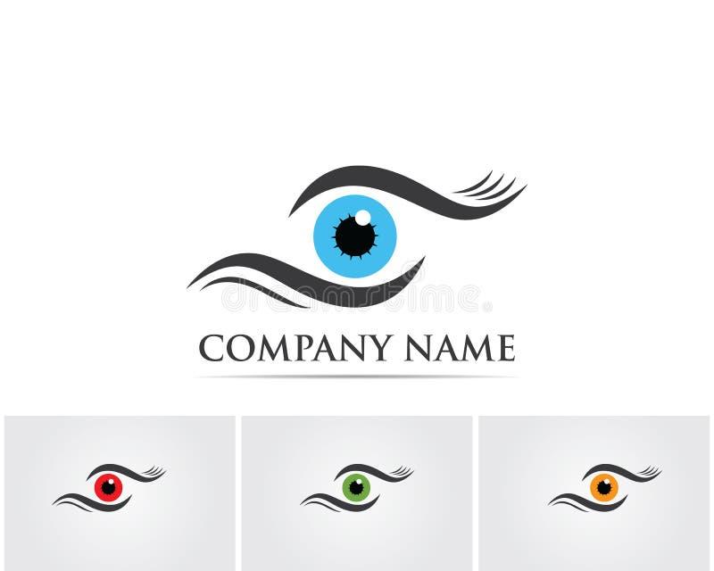 Eye o logotipo do cuidado e os ícones app do vetor do molde dos símbolos ilustração do vetor