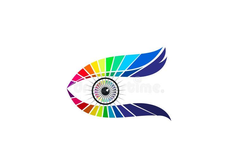 Eye o logotipo do cuidado, a tecnologia ótica, o ícone dos vidros da forma, o tipo visual elegante, o gráfico luxuoso da visão, e ilustração royalty free