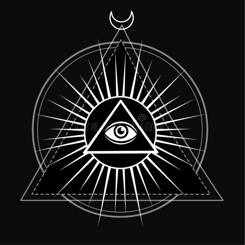 Free Eye Of Providence. All Seeing Eye Inside Triangle Pyramid. Stock Image - 73448881