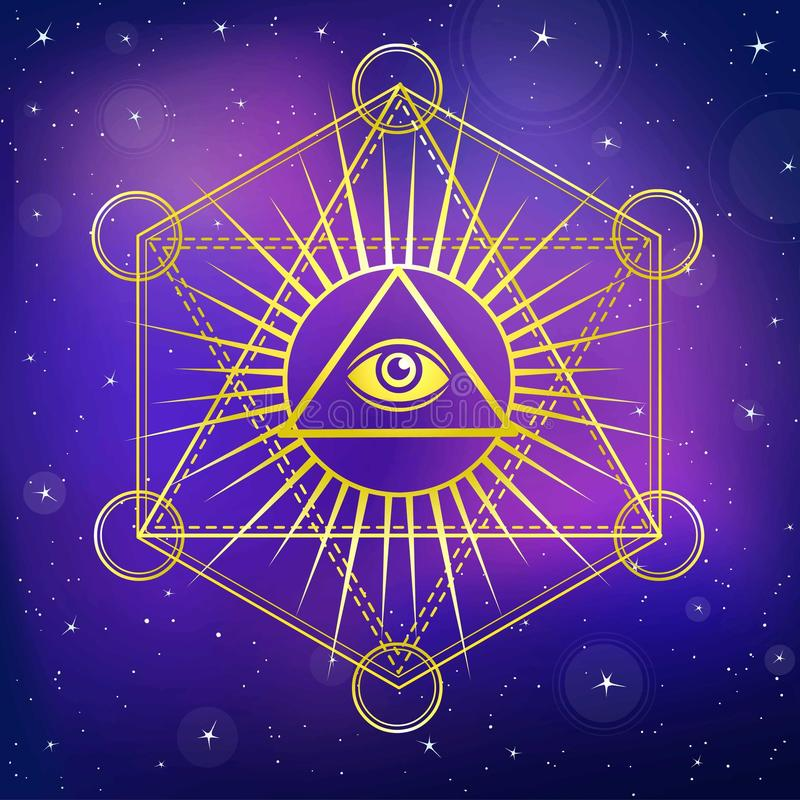 Free Eye Of Providence. All Seeing Eye Inside Triangle Pyramid. Royalty Free Stock Photo - 85314635