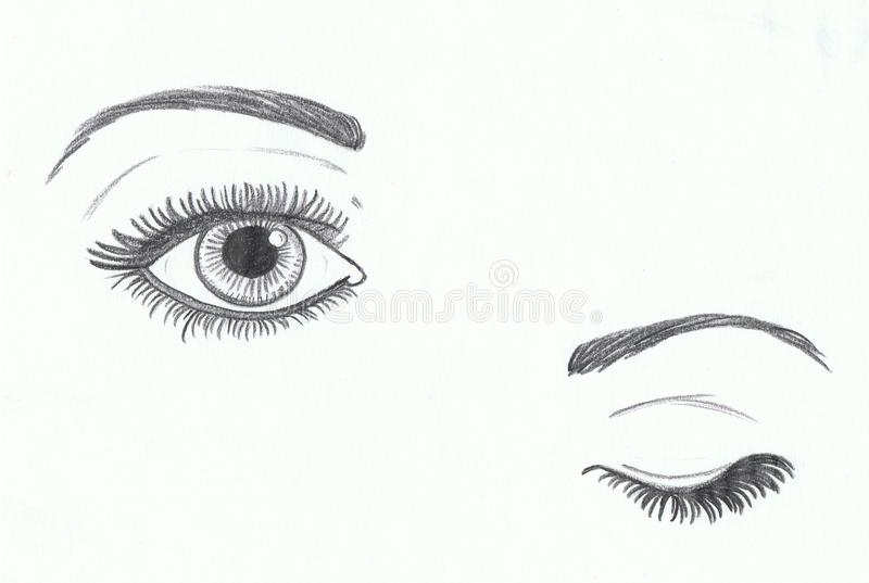 Eye open and closed eye. Illustration hand made with pencil royalty free illustration