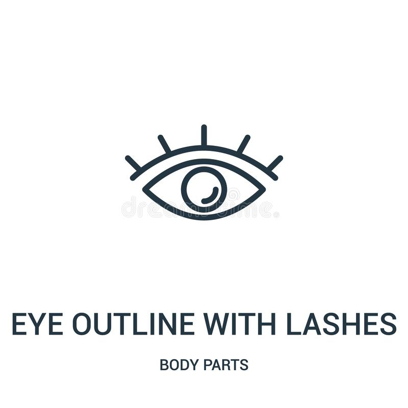 Free Eye Outline With Lashes Icon Vector From Body Parts Collection. Thin Line Eye Outline With Lashes Outline Icon Vector Illustration Royalty Free Stock Image - 143543176