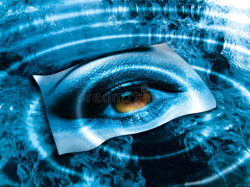 Eye over blue. Artistic illustration of a female eye on a paper, floating over a rippled pond of water