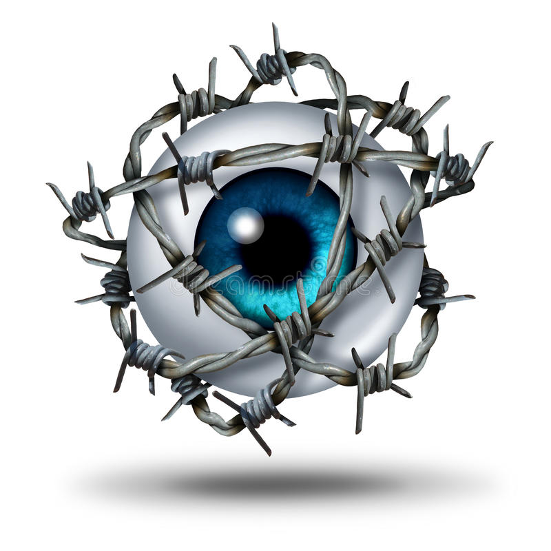 Eye Pain. Medical concept as a human vision organ wrapped with sharp metal barb or barbed wire as a symbol for glaucoma or restricted visual access and witness stock illustration
