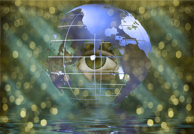 Eye peers through earth. With streaming light vector illustration