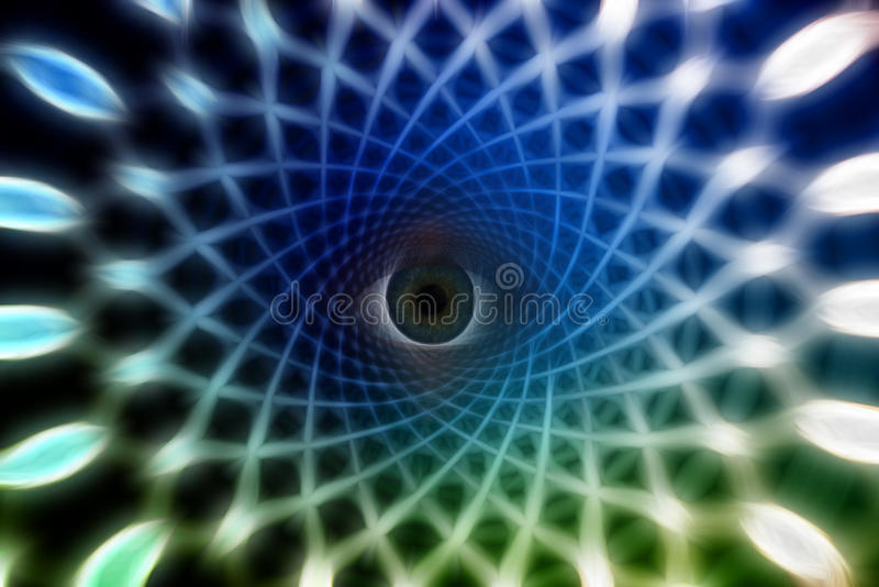Eye. Peers from spiral tunnel royalty free illustration