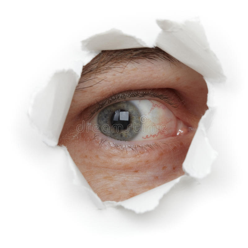 Download Eye Of Person In Hole Close Up Stock Image - Image: 17115473