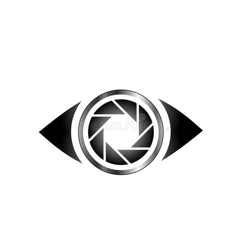 Eye with photography aperture. Logo stock illustration