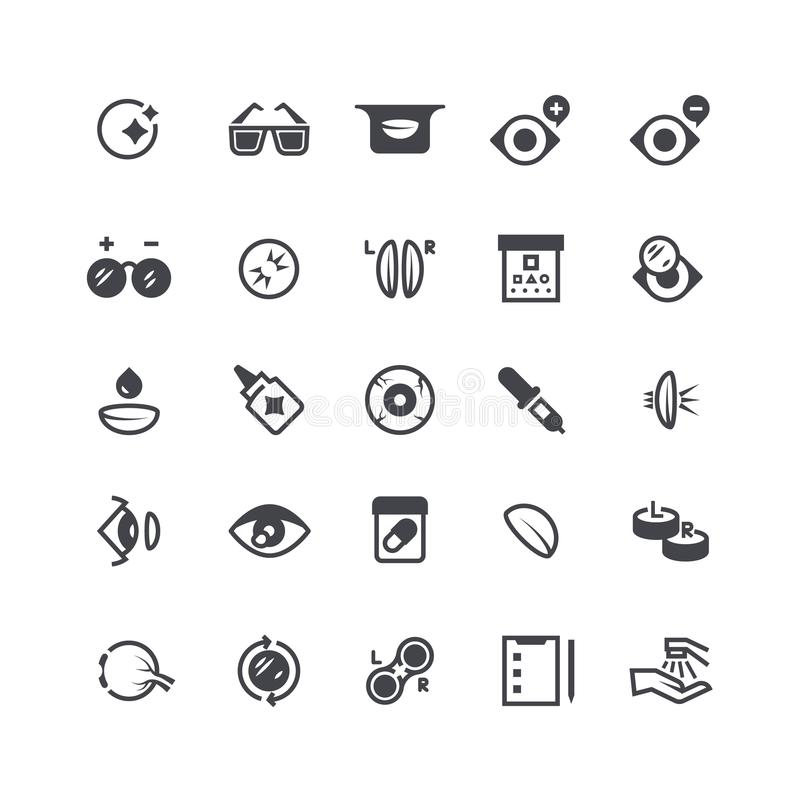 Eye problems, optical contact lens and eyeglasses icons. Eyeball laser surgery vector medical symbols royalty free illustration
