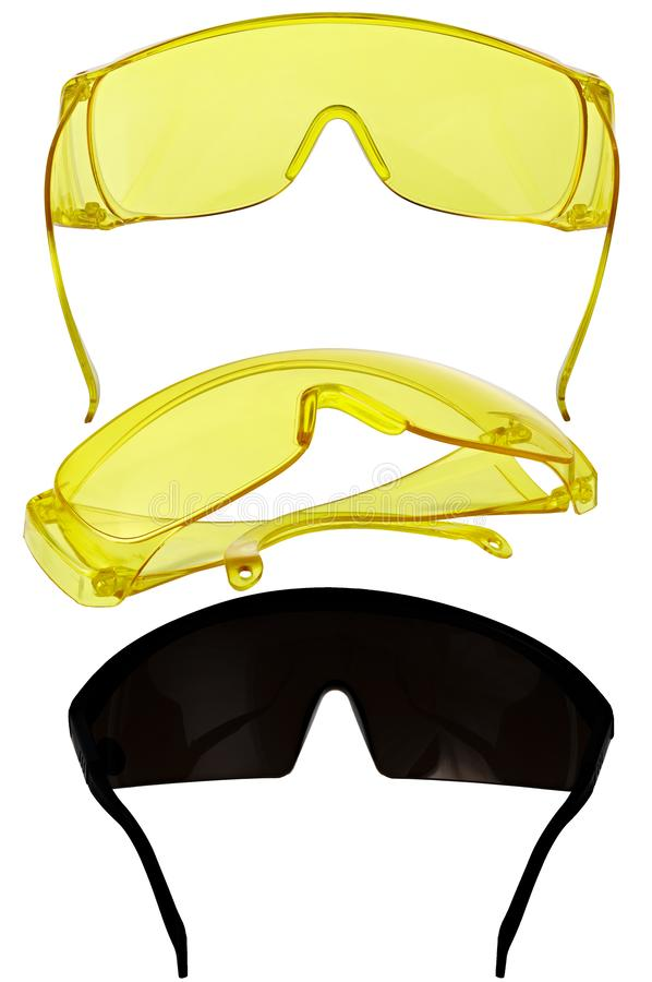 Eye protection glasses for repair and construction work, isolated on white background.  stock photo