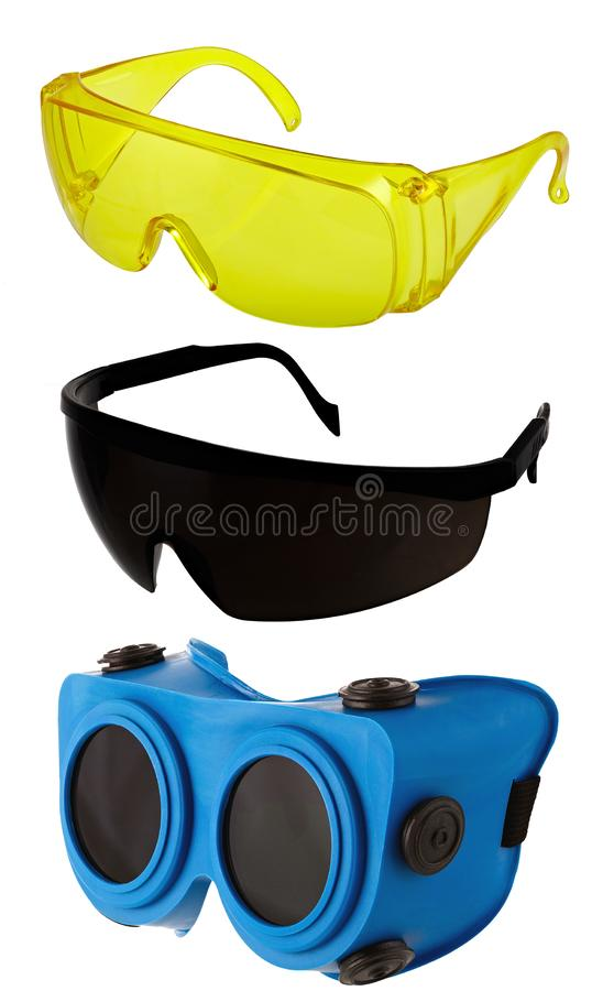 Eye protection glasses for repair and construction work, isolated on white background.  royalty free stock photos