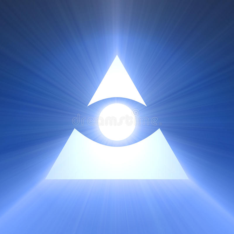 Eye of providence blue light flare. All seeing eye of God with rays of powerful light flare. Eye with pyramid. Religious and mystery symbol. Extended flares for stock illustration