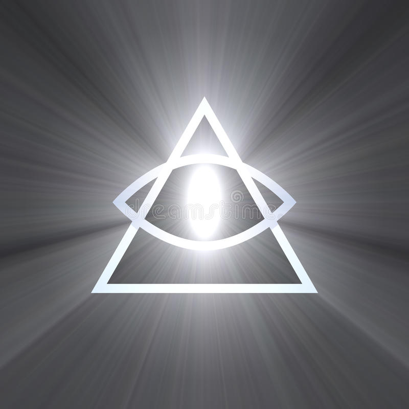 Eye of providence with light flare. All seeing eye of God with rays of powerful white light flare. Eye with triangle. Religious symbol. Extended flares for the vector illustration